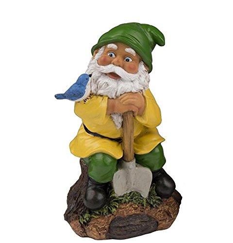 Gartenzwerg Zwerg Gnom 21cm (Vogel) grüne Mütze