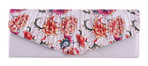 Girly HandBags Florale Satin Vintage Handtasche Hochzeitsfest Abendtasche Silber