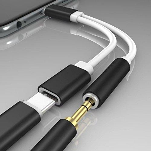 aktrend 2 in 1 Adapter USB Typ C Ladekabel Ladegerät Kabel 3,5 mm Aux Klinke Kopfhörer Audio Adapter Kabel USB Typ C Stecker auf 3,5mm Klinkenbuchse für Huawei, Xiaomi, Motorola in Weiß/Schwarz (Usb-adapter 1)