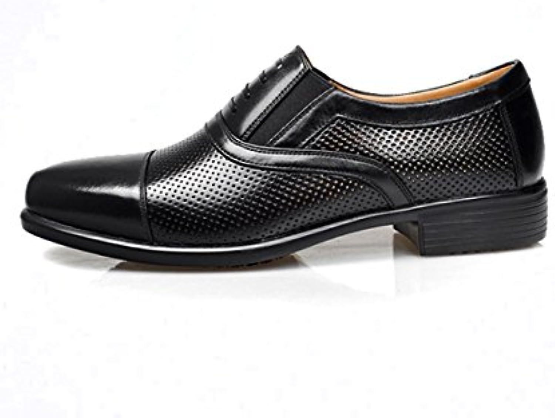 Zapatos de Malla de Cuero Real de los Hombres de Verano Sandalias Puntadas de Costura Transpirable 354 -