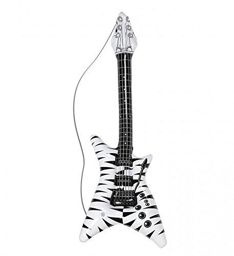 Aufblasbare Rockstargitarre mit Zebramuster Gitarre Luftgitarre Party Scherzartikel 80er (Rocker 80's Kostüm)