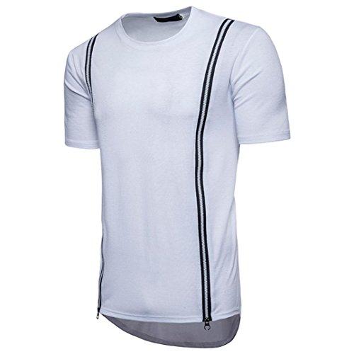 Preisvergleich Produktbild Kurzarm-T-Shirt mit Reißverschluss VENMO Mode Persönlichkeit Männer Casual Schlank Top Bluse Sport T-Shirt Herren Unregelmäßige Kurzarm Hedging Slim Fit Bluse für Jogging Yoga Männer Tops (White,  XL(Asian XL=EU L))