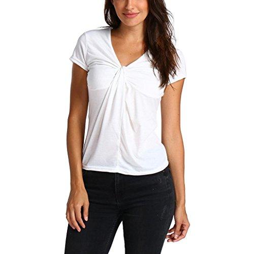 OSYARD Damen Solide Kurzarm Krawatte Design Tops Bluse T-Shirt(EU 44/XL, Weiß)