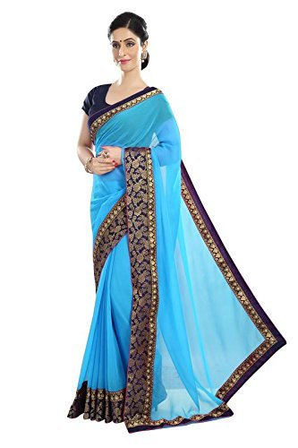 Shree Women's Georgette Fabric Saree With Blouse Piece.(306 Sky_Free Size)