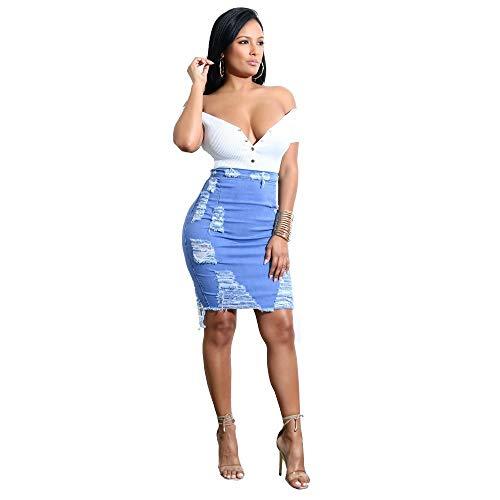 DAY.LIN Pencil Mini Jean Jupe Femmes Taille Haute Denim Déchiré en Détresse Jupe Dames Bodycon Jupe Rockabilly Jupes de Plage Droite Jupe Mini Jupe (Large,Bleu)