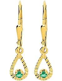 Boucles d'oreilles pendantes - Or jaune 9 cts - Émeraude - 293036.E0