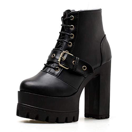 LIANGXIE Ladies Womens Ankle Winter Biker Boots/Plattform Block Chunky Gothic Rock Punk Boots Retro Boots Buckle Comfortable Joker Martin Boots High Heel Boots,Black,39 Buckle Womens Plattform