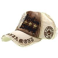 Lettera Patch Rivetti Casual Baseball Cotton Cap & cappello alla moda all'aperto per maschi e femmine-beige, iParaAiluRy