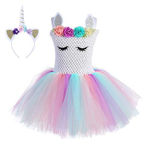 30d7eb9b7 FONLAM Vestido de Bautizo Fiesta Niña Disfraz de Unicornio Princesa Tutú  Vestido Infantil Flores Carnaval Niña