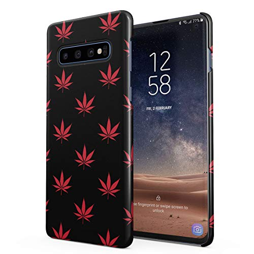 Red Cannabis Leaves Pattern Dünne Rückschale aus Hartplastik für Samsung Galaxy S10 Handy Hülle Schutzhülle Slim Fit Case Cover Pattern Hard Case Cover