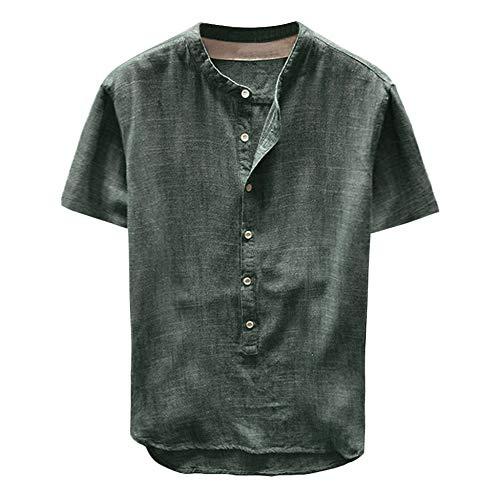 ZEZKT Herren-Hemden Stehkragen Kurze Ärmel-Hemd, Kurze Ärmel-Shirts für Männer, Mode Herren Top Frühling Herbst Button Casual T-Shirts Leinen und Baumwolle Kurze Ärmel Bluse M-3XL (Grün, M) - Leinen Bluse Shirt