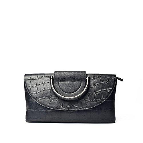 Schultertasche aus Leder Handtasche neue Umschlag Tasche Schultertasche, schwarz Black