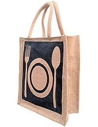 GREAN Jute Lunch Bag/ Tote/ Utility Bag PLATE, SPOON & FORK PATTERN