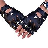 Einsgut fingerlose Handschuhe Fingerlose Gothic PU Leder Handschuhe für Cosplay Kostüm Fahrrad...