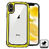 iPhone X Hülle Stoßfest,Outdoor Dual Layer Robuste Schutzhülle[Silikon Bumper],Durchsichtige Handyhülle für iPhone X 10(5.8 Zoll)-Gelb
