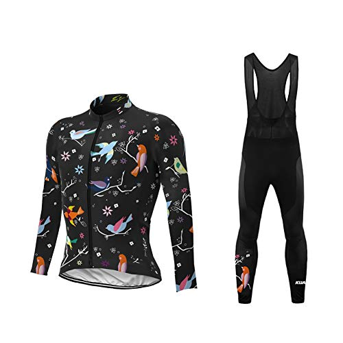Uglyfrog Damen Neue Women Langarm Radsport Jersey Road Bike MTB Top + Lange Hose mit Gel PAD Langarm Winter with Fleece Bike Set
