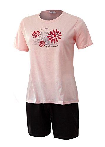 Rosa Baumwoll-shorty-pyjama (Schlafanzug kurz Damen Pyjama kurz Damen Nachthemd kurz aus 100% Baumwolle softweich Gr. S M L XL (M/40-42, oberteil rose´ motiv druck/short anthrazit))