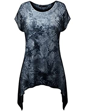 NiSeng Donna Casual Slim Fit Stampa Collo Rotondo Manica Corta T-Shirt Camicia Maglietta Lunga Orlo Irregolare...