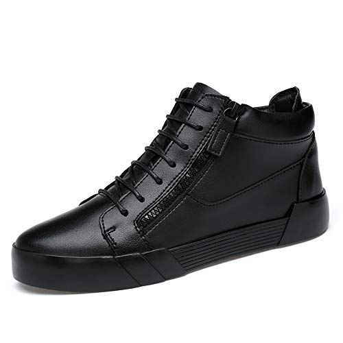 TONGDAUR High Top Skate Shoes for Men Comfort Elevator Sneakers Side Zipper Ankle Athletic Shoes Punta Rotonda in Pelle Resistente Superiore Scarpe da Uomo in Pelle