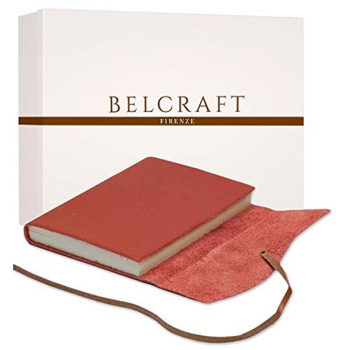 Capri A5 mittelgroßes Notizbuch aus Leder, Handgearbeitet in klassischem Italienischem Stil, Geschenkschachtel inklusive, Tagebuch, Lederbuch A5 (15x21 cm) Koralle