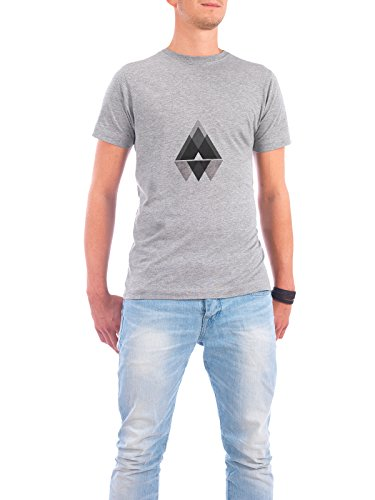 "Design T-Shirt Männer Continental Cotton ""Graue Berge"" - stylisches Shirt Abstrakt Geometrie Natur von Mia Nissen Grau"