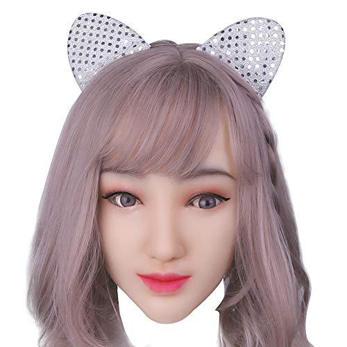 (KUMIHO Silikon Mask Realistische Weibliche Masken Halloween Ostern Weihnachtsmasken Gesicht Cosplay Männlich zu Weiblich für Crossdresser Transgender Shemale Sophia-1)
