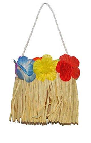 ast Tasche Handtasche Hula Hula Hawai Kostüm mit Blumen, Beige (Kuba-kostüm Für Kinder)