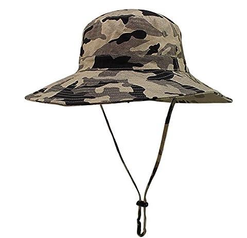 Butterme Unisexe adulte Chapeau Camouflage à Large Bord Cap Boonie Hat Chapeau Fisherman avec cordonnet pour Camping Militaire Wargame Voyage Sport