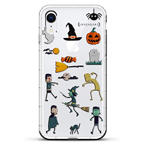 ky Zombie Ghost Witch | Luxendary Air Series Clear Silicone Case with 3D Printed Design and Air-Pocket Cushion Bumper for iPhone XR (New 2018/2019 Model with 6.1
