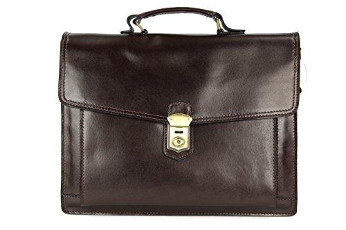 """Belli® """"Design Bag D XXL ital. Leder Handtasche Business Bag dunkelbraun - 40x30x12 cm (B x H x T)"""
