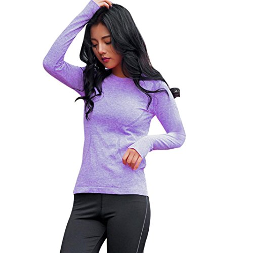 Winwintom Femmes Sport Gym Yoga Fitness manches longues Quick Dry Chemisier Blouse Top Violet