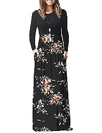 AUSELILY Mujer Vestidos Largos de Manga Larga Sueltos Lisos de Talla Grande Vestidos Largos Casuales con Bolsillos
