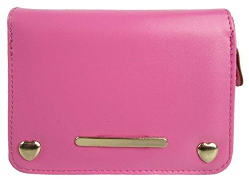 Barra Di Metallo Anteriore Kukubird & Cuore Forma Dettaglio Abbellimento Ladies Pelle Portafoglio Frizione Pink