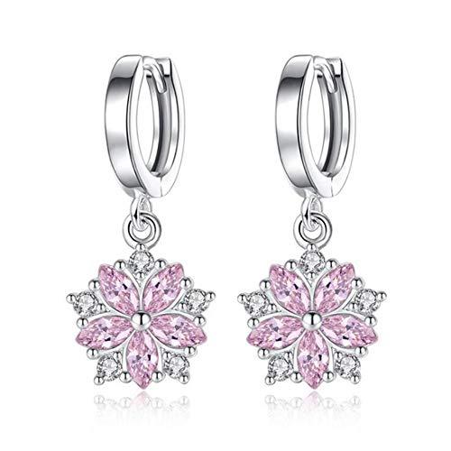Escyq orecchini a bottone orecchini pendenti linea dell'orecchio argento 925 elegante fiore di zirconia orecchini a pendente per le donne alla moda semplice orecchino boho gioielli di nozze