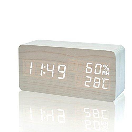 ✔Despertador multifuncional: se puede mostrar la fecha, hora(12H/24H), temperatura(°C/°F), humedad. Además configura 3 grupos de alarma,3 niveles de brillo.   ✔Material: el reloj electrónico es hecho de fibra de madera y PVC (no madera real) para qu...