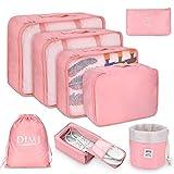 DIMJ - Organizer per valigia, cubici, da viaggio, set di 8, sacchetti per valigia per vestiti, scarpe e cosmetici Rosa Rosa 1