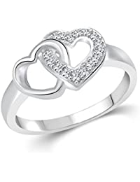 Vidhi Jewels Rhodium And Silver Plated Double Heart Alloy & Brass Finger Ring For Women [VFR289R]