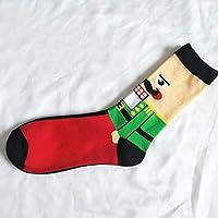 Daxey – Christmas Series de algodón Puro en la Personalidad Caricatura de muñeco Feliz Macho Calcetines