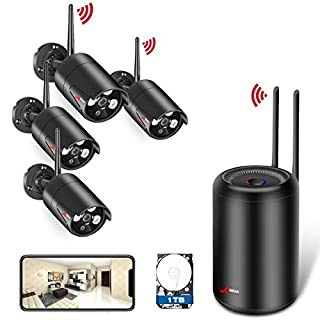 ANRAN [New NVR Design] Wireless Security Camera System 1080P, 2.0MP Home Surveillance System WiFi NVR Kit with 4PCS 2.0MP WIFI Outdoor IP Network Cameras, Auto Pair, Free APP Remote, 1TB Hard Drive