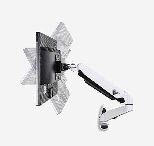 Monitorständer Zur Wandmontage for 10-24-Zoll-LCD-Gasdruckfeder-Einzelmonitorarm, 90 ° Nach Oben/Unten, 85 ° Schwenkbar, 360 ° Nach Links/Rechts, Vesa 75-100 Mm (Color : White)