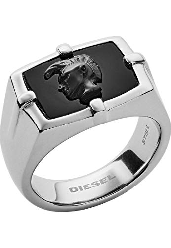 Diesel DX1175040515 Herren Ring Edelstahl Silber schwarz 21,0 mm Größe 66