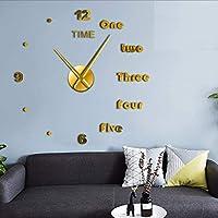 Wmbz 1 Pieza DIY Inglés Cartas Reloj De Pared Reloj DIY Gigante Sin Marco 3D Gran
