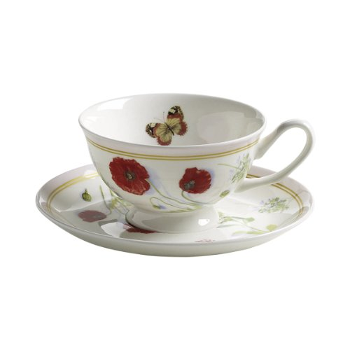Maxwell & Williams S303100 Butterfly Garden Tasse mit Untertasse. Kaffeetasse, Becher, 180 ml, in Geschenkbox, Porzellan, rosa - Butterfly Garden Teller