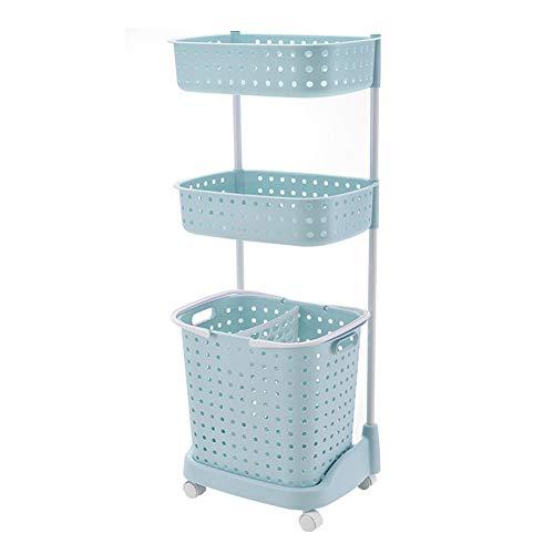 Rolling Wäscherei (YLOVOW Rolling Wäscherei Waschwagen Für Die Organisation Von Waschräumen, Waschkorb Mit Rädern, Plastik,A,L)