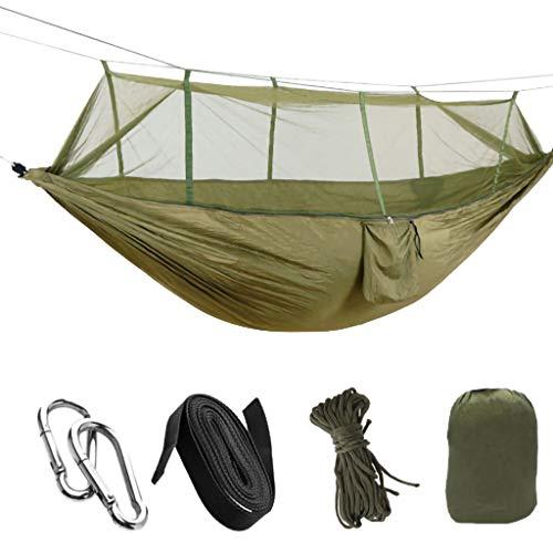 Harpily Doppel Camping HäNgematte,Neue Doppel Armee GrüN Outdoor Person Reisen Camping HäNgen HäNgemattenbett Moskitonetz Set
