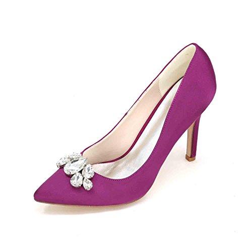 L@YC Tacchi alti Delle Donne 0608-01B Vestito Da Cerimonia Nuziale Della Piattaforma Pieghettato Su Ordinazione Purple