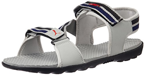Puma Unisex Silicis Mesh DP Grey Violet, Black and Snorkel Blue Rubber Athletic & Outdoor Sandals - 7 UK
