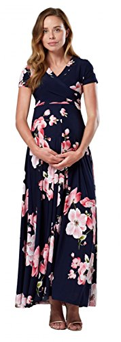 Happy Mama. Damen 2in1 Umstands gerafften Stillkleid Maxikleid Kurz Ärmel.599p (Style 1, EU 44, 2XL)