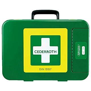 CEDERROTH 390104 Verbandkoffer, Füllung gem. DIN 13157, 42 x 30 x 11,8 cm, grün aus Kunststoff