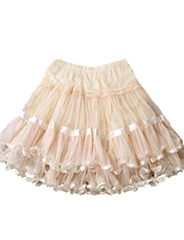 Yummy Bee Skirt Plus Size Swing Retro Rockabilly Vintage 50s Long Flared Skater Burlesque (Ivory, 16)